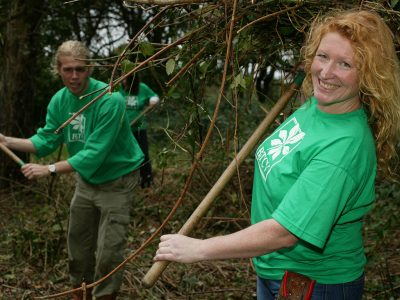 Charlie Dimmock working with BTCV